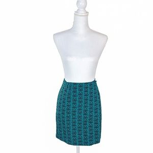 Teal Green Geometric Wrap Mini Skirt | Medium